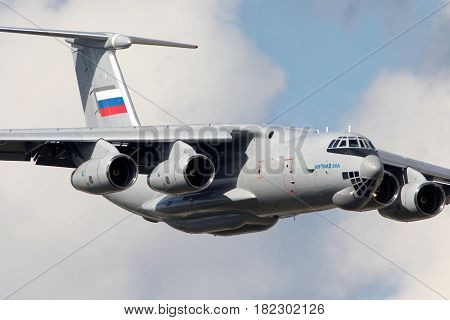 ZHUKOVSKY, MOSCOW REGION, RUSSIA - JULY 14, 2014: New Ilyushin IL-76MD-90A IL-476 78650 makes demo flight in Zhukovsky during MAKS-2013 airshow.