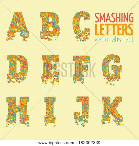 Abstract colorful vector smashing mesh letters. Futuristic technology style alphabet. Eps 10