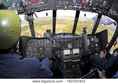 MOSCOW REGION, RUSSIA - MAY 9, 2015: Cockpit of Mi-8AMTSH RF-91276 helicopter of Russian air force pictured during Victory Day parade.