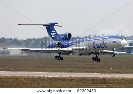 ZHUKOVSKY, MOSCOW REGION, RUSSIA - OCTOBER 13, 2014: Tupolev Tu-154M RA-85317 perfoming test flight at Zhukovsky.