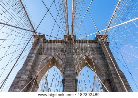 View from the pedestrian walkway of the Brooklyn Bridge. The Brooklyn Bridge is connects the boroughs of Manhattan and Brooklyn and is one of the biggest suspension bridge in the world.