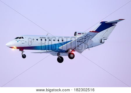 SHEREMETYEVO, MOSCOW REGION, RUSSIA - JANUARY 21, 2014: Ak Bars Aero Yakovlev Yak-40 RA-87447 landing at Sheremetyevo international airport.