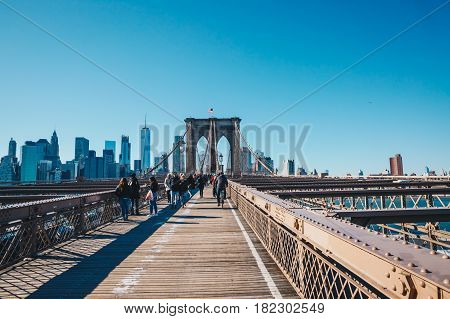 New York CityUSA - March 19 2017: View from the pedestrian walkway of the Brooklyn Bridge. The Brooklyn Bridge is connects the boroughs of Manhattan and Brooklyn and is one of the biggest suspension bridge in the world.