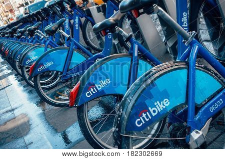 New York City USA - March 19 2017: Citi Bike docking station in Little Italy Manhattan New York. Citi Bike is a privately owned public bicycle sharing system