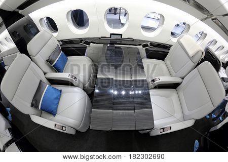 VNUKOVO, MOSCOW REGION, RUSSIA - SEPTEMBER 12, 2014: Dassault falcon 5X interior shown during Jetexpo-2014 exhibition at Vnukovo international airport.