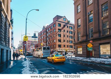 New York City USA - March 19 2017. Old apartment building in Little Italy Baxter street is one of the most famous streets. Manhattan New York City