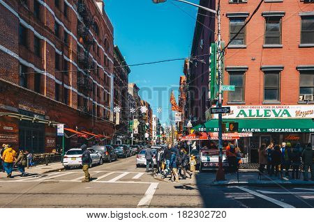 New York City USA - March 19 2017 : Little Italy is an Italian famous community in Manhattan