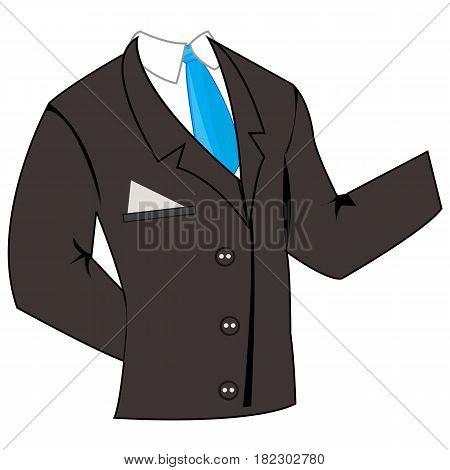 Black business suit and tie with shirt on white background