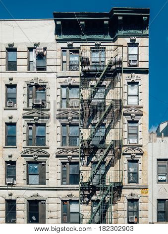 New York City USA - March 19 2017. Old apartment building in Little Italy Manhattan New York City