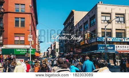 New York City USA - March 19 2017 : Welcome to Little Italy sign in Lower Manhattan. Little Italy is an Italian famous community in Manhattan