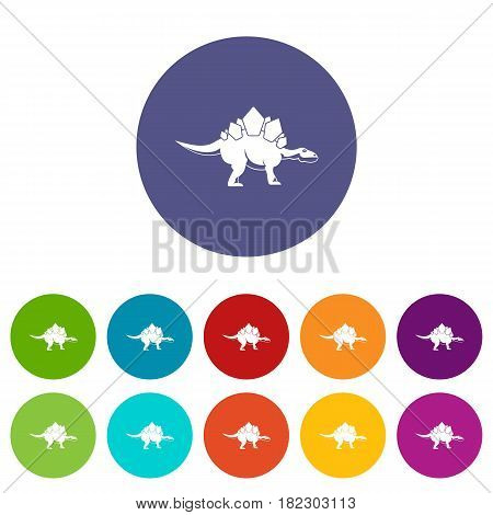 Brachiosaurus dinosaur icons set in circle isolated flat vector illustration