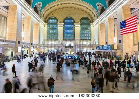 New York City USA - March 18 2017: Panoramic view of the Grand Central Station. Is a commuter rapid transit railroad terminal at 42nd Street and Park Avenue in Midtown Manhattan in New York City.