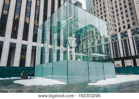 New York CityUSA - March 18 2017: View to the Apple Store building. This is one of the most profitable Apple shops worldwide located at the Fifth Avenue in Manhattan.