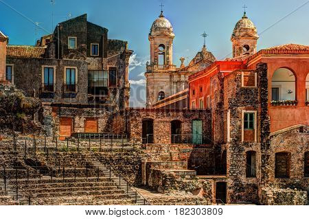 Beautiful view of colorful facades of old houses in Italy. Architectural background.