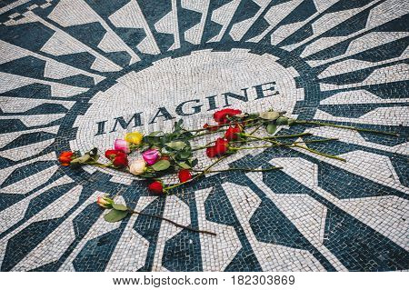 New York City USA - March 18 2017 - Strawberry Fields memorial for John Lennon in New York's Central Park