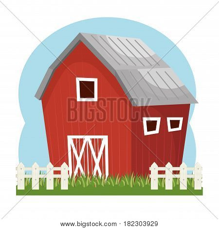 building stable farm isolated icon vector illustration design