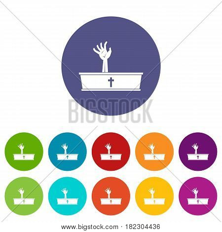 Zombie hand coming out of his coffin icons set in circle isolated flat vector illustration