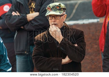 MOSCOW - MAY 1, 2016: Eduard Limonov - Russian writer, poet, essayist, politician, founder and former leader of the banned National Bolshevik Party, in rally marking the May Day.