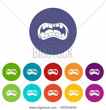 Zombie mouth icons set in circle isolated flat vector illustration