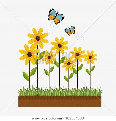 cute garden plants cultive vector illustration design