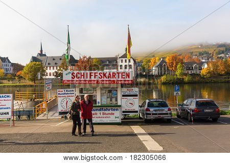 Excursion Ship Pier At The Moselle In Bernkastel-kues
