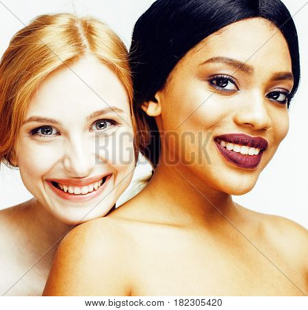 different nation woman: african-american, caucasian together isolated on white background happy smiling, diverse type on skin, lifestyle people concept close up