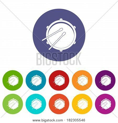 Drum icons set in circle isolated flat vector illustration