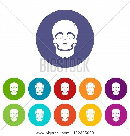 Singer mask icons set in circle isolated flat vector illustration