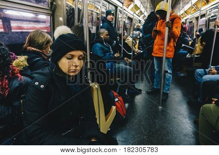 New York Usa - March 18 2017: Passengers riding in the NYC Subway in the rush hour.
