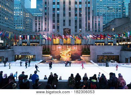 New York City Usa - March 18 2017: People enjoying Rockefeller Center Ice Skating