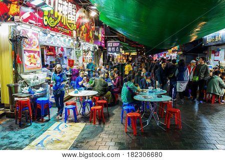 Street Restaurants At Night In Kowloon, Hong Kong