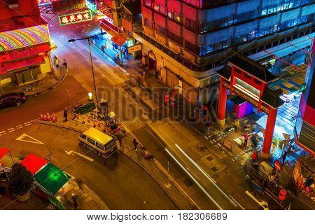 Entrance Of The Temple Street In Hong Kong