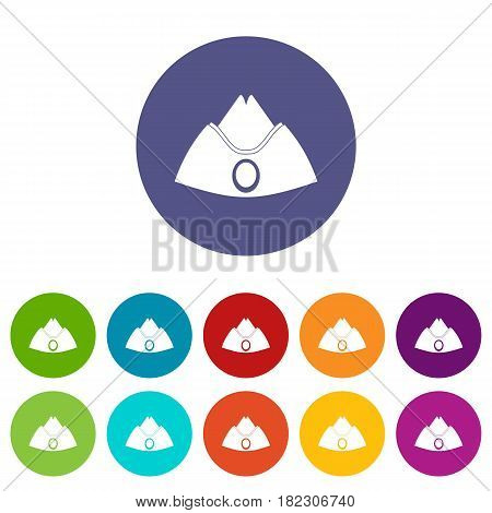 Forage cap icons set in circle isolated flat vector illustration
