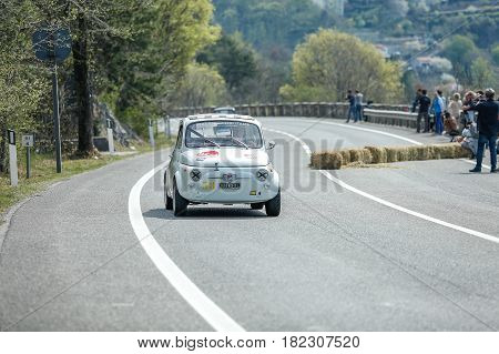Trieste Italy - April 2 2017: Photo of a Fiat 500 Giannini on the Trieste Opicina Historic. Trieste Opicina Historic is regularity run for vintage and classic Cars.
