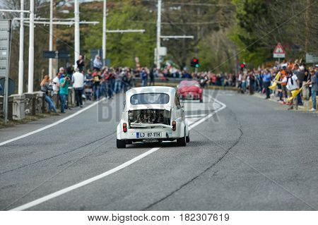 Trieste Italy - April 2 2017: Photo of a Abarth 1000TC on the Trieste Opicina Historic. Trieste Opicina Historic is regularity run for vintage and classic Cars.