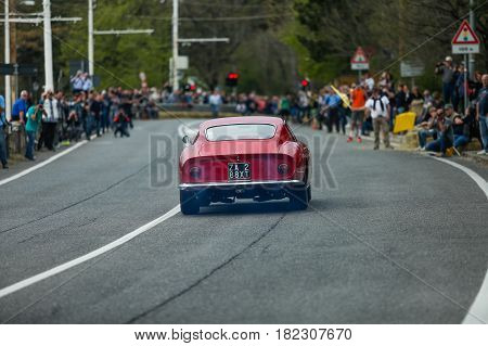 Trieste Italy - April 2 2017: Photo of a Ferrari 275 GTB on the Trieste Opicina Historic. Trieste Opicina Historic is regularity run for vintage and classic Cars.