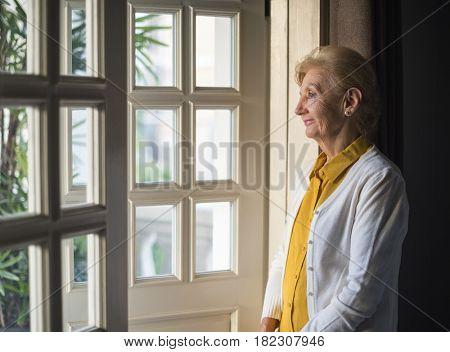 Senior Woman Thoughtful Alone Lifestyle