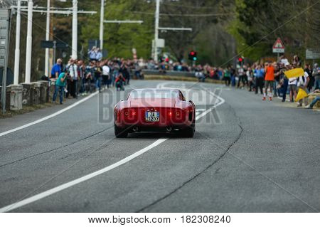 Trieste Italy - April 2 2017: Photo of a 275 GTB 1967 on the Trieste Opicina Historic. Trieste Opicina Historic is regularity run for vintage and classic Cars.
