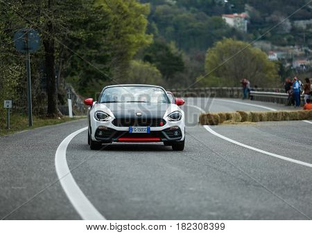 Trieste Italy - April 2 2017: Photo of a Abarth 124 Turbo 2016 on the Trieste Opicina Historic. Trieste Opicina Historic is regularity run for vintage and classic Cars.