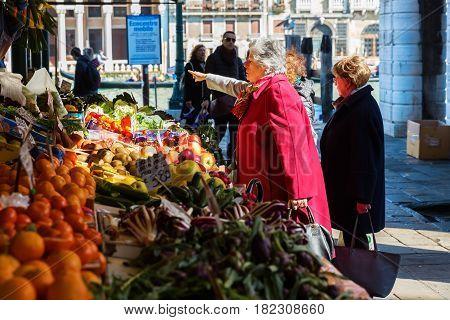 Market Scene At The Rialto Street Market In Venice