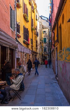 Typical Alleyway In Venice, Italy