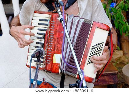 The musician playing an accordion on the street.