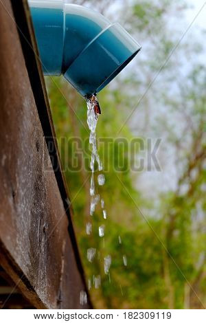 Water pouring from roof rain gutter downspout.