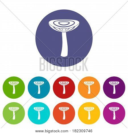 Mushroom russet icons set in circle isolated flat vector illustration