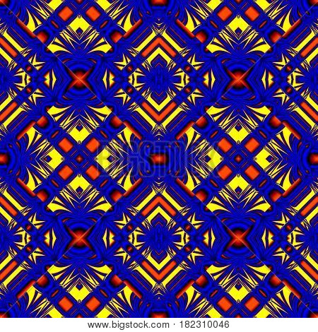 blue yellow seamless pattern with stripes and wrinkles in the form of lozenges for fabrics and tablecloths