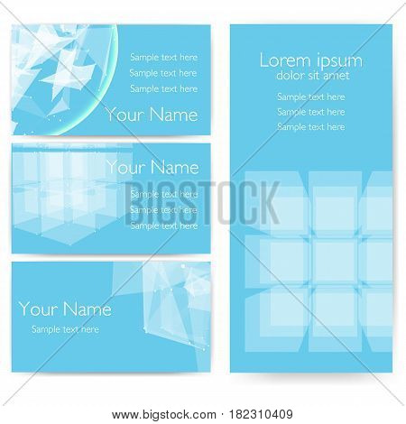 Invitation, cards with abstract mesh objects.Futuristic technology style design. Business cards. eps10