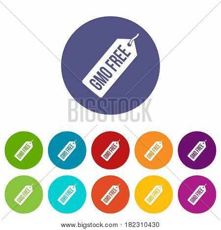 GMO free price tag icons set in circle isolated flat vector illustration