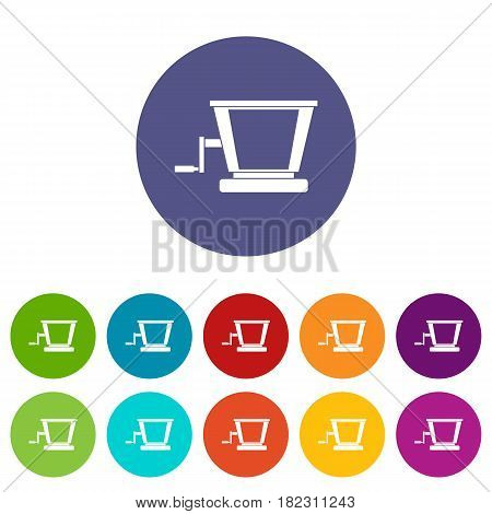 Old grape juicer icons set in circle isolated flat vector illustration