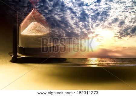 Hourglass on sunset of city (Concept of time)