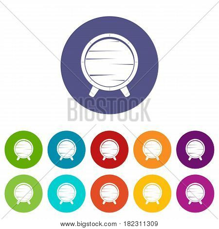 Barrel on legs icons set in circle isolated flat vector illustration